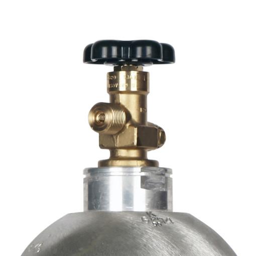 Beverage Elements 10 lb CO2 cylinder aluminum new valve closeup