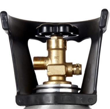 Beverage Elements 20 lb CO2 cylinder aluminum new valve closeup