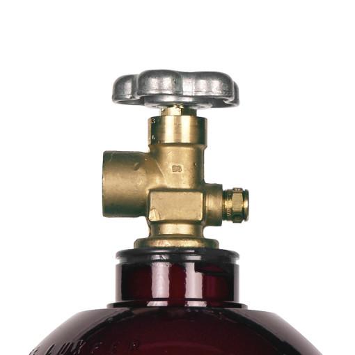 Beverage Elements 60 cu ft nitrogen cylinder valve closeup