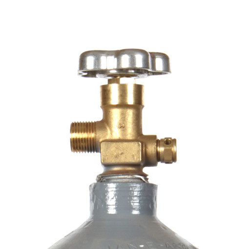 Beverage Elements 15 lb CO2 cylinder steel recertified valve closeup