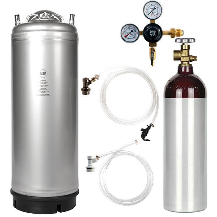 New 5 Gallon Ball Lock Keg Kit With 22 Cuft Nitrogen