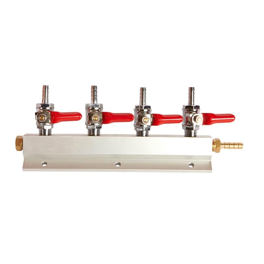 Four way gas manifold beverage elements
