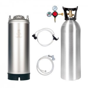 Beverage Elements Keg Kit 5 Gallon Single Handle Ball Lock Keg 20 Lb. Aluminum CO2 Cylinder Regulator Lines