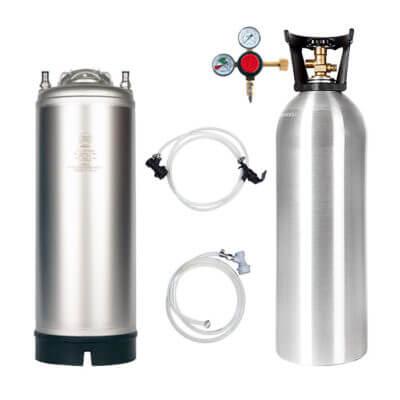 Beverage Elements Keg Kit 5 Gallon Single Handle Ball Lock Keg 20 Lb. Aluminum CO2 Cylinder Regulator Lines