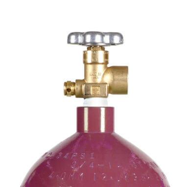 Beverage Elements 40 cu ft Steel Nitrogen Cylinder Valve Closeup