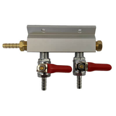 2 way gas manifold 1/4""